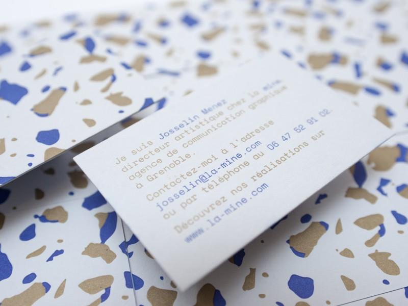 Cartes de visites letterpress, impression deux couleurs, réalisées pour l'agence de communication grenobloise La Mine