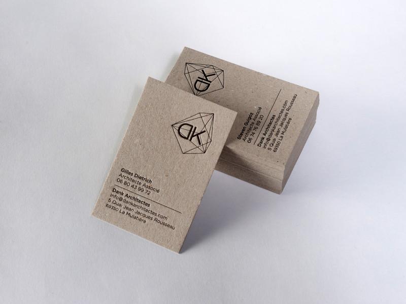 Cartes de visite letterpress réalisées pour l'agence d'architecture DANK.