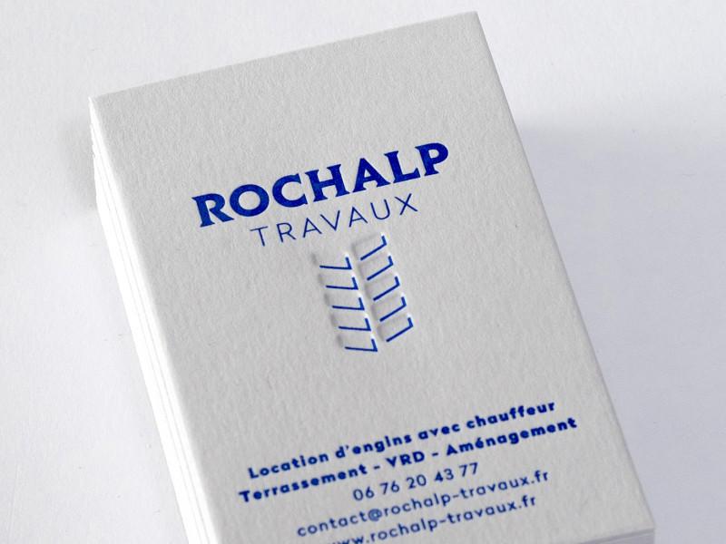 Cartes de visite letterpress imprimées pour la société ROCHALP.