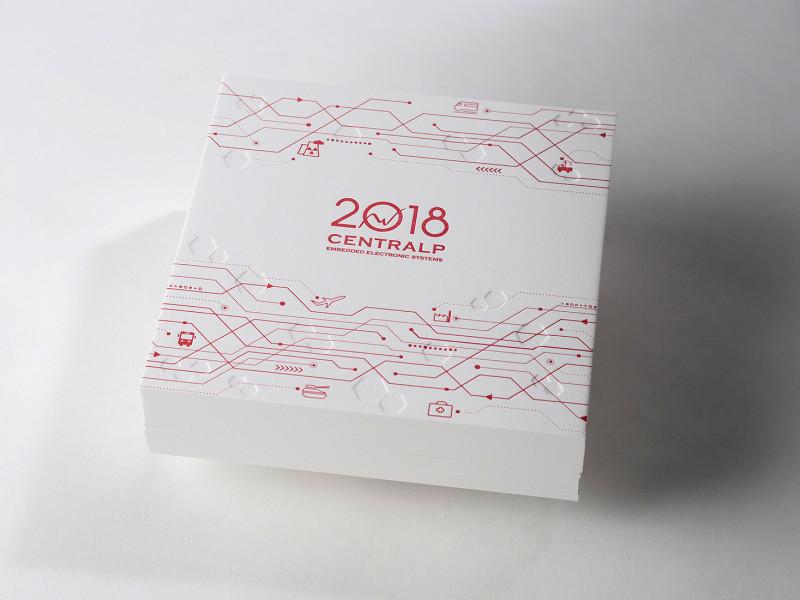 Carte de voeux letterpress réalisées pour la société Centralp.